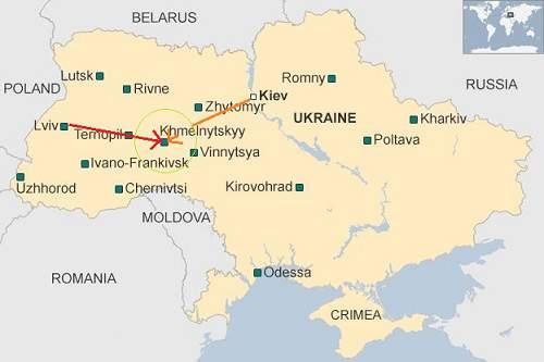 ubicación de Khmelnitskiy, Ucrania